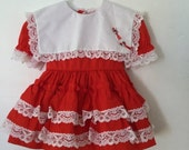 ON SALE Vintage 80s / Cherry Red / White Lace / Multi Tiered / Ruffle / Bow Tie / Valentines / Dress / 24 Months
