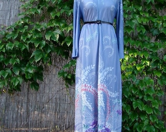 ON SALE Vintage 60s / Floral / Boho / Maxi / Lounge / House Dress / LARGE