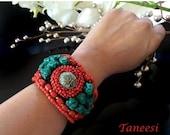 CLEARANCE SALE TURQUOISE Cuff Bracelet,red CORALCuff bracelet Womens bracelet by Taneesi