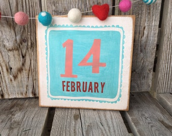 Valentine February 14 heart wood sign home seaonal decor love Valentine's Day hand painted