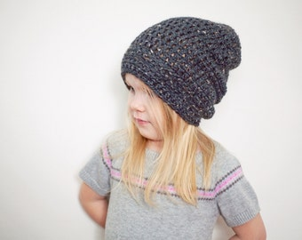 Charcoal Slouchy Hat, Toddler Hats, Slouchy Beanie Boys, Hats for Girl, 12 Months - 4T (Morgan)
