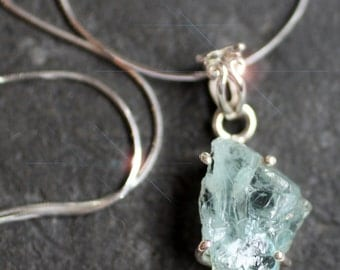 Ice Blue - Raw Aquamarine Sterling Silver Necklace