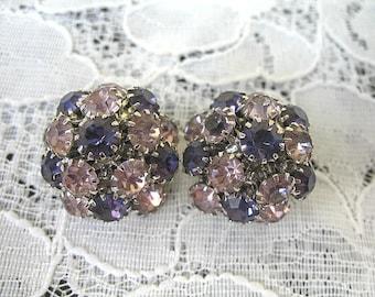 Vintage Rhinestone Earrings ~ Clip On ~ Purple & Lavender Rhinestones