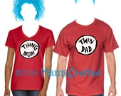 Dr Seuss Inspired Twin Mom/Twin Dad Thing Mom/Thing Dad Sibling T-Shirt | Big Bro | Little Bro | Big Sis | Little Sis | Infant, Youth, Adult