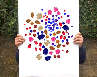 "Forest Fruits & Nuts - Art poster print  20""x27"" - archival fine art giclée print"