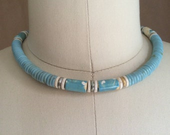 vintage 80's beaded necklace / turquoise impression / beaded choker