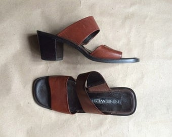 WEEKEND SALE 25% OFF / 1990's vintage chunky block heel shoes/ mules / slip on sandals / brown leather
