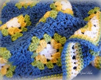 "Crochet  BABY  BLANKET AFGHAN Girl Boy Lap Granny Squares Soft Warm 31""x 31"" Blue Yellow"