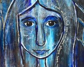 Anointed VI, Blue woman, Painting based on Scripture