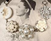 OOAK Vintage Ivory Pearl Rhinestone Bridal Bracelet, Silver Vintage Earring Bridesmaid Bracelet, Rustic Wedding Gift Country Garden Flower