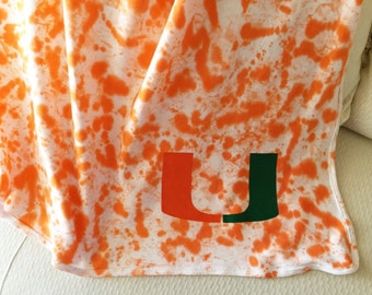 Uf university of florida baby blanket gator logo um university of miami baby blanket personalized baby blanket tie dye hand painted negle Image collections