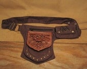 """Grichels leather and canvas festival belt with pouch - """"Frilvet"""" 27016 - distressed chocolate brown with red and gold slit pupil shark eyes"""