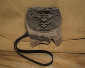 "Grichels leather belt pouch bag - ""Veckage"" 27711 - distressed and textured grays with lemonade fish eyes"