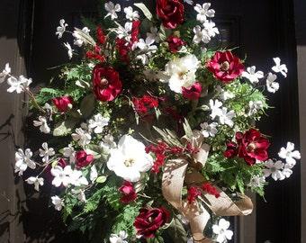 Summer Wreath, Magnolia Wreath, Wreaths For Door, Summer Door Wreath, Burgundy and White Wreaths, XL Wreaths