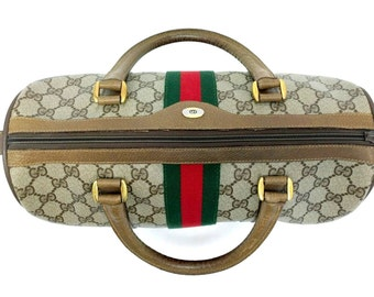 AUTHENTIC Vintage GUCCI Speedy Boston Doctor Bag Purse Brown Red Green Stripe