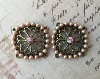 Antique Brass Pearl Rose Connectors