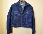 Vintage 1970s LEE Dark Indigo Denim Jacket 44 Regular