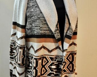 Vintage 70s Aztec Acrylic Sweater Cardigan size Medium