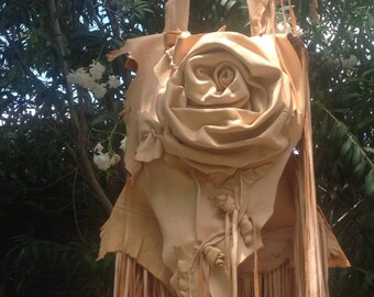 showdiva designs Asymmetrical Deerskin Leather Bag Purse LoNg FriNgE n Hand Sculpted Flowers