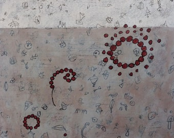 Mixed Media Drawing Painting with Spirals on Cradled Panel  / Dust to Dust Series: No. 9