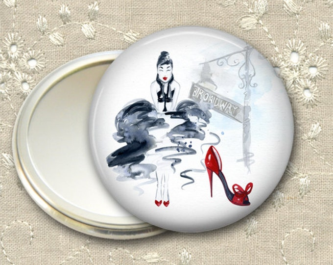 fashionista pocket mirror,  original art hand mirror, mirror for purse, fashion accessory,  bridesmaid gift, stocking stuffer MIR-FASH-2