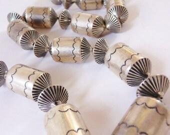 Navajo solid sterling necklace ~ barrels and flutes ~ vintage Southwestern sterling