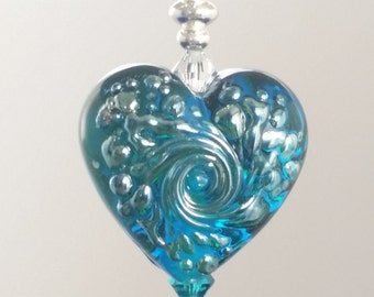 Sterling Silver and Lampwork Heart Pendant. Clare Scott Bead  Blue with Metallic Glass Wrapping