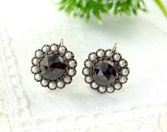 Vintage garnet earrings w/14ct gold wires & seed pearls Victorian style | WPKRBT#PK
