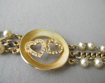 Valentine's Day Necklace, Heart, Choker, Pearl Rhinestone