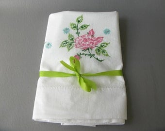 Vintage Embroidered Cotton Pillowcases, floral