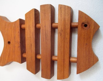 Vintage Mod Wood Fish Trivet Wall Hanging