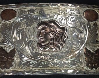 Etched Sterling Silver Belt Buckle – 1950s Signed JCL Eagle Essay Engraved