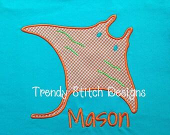 Manta Ray Applique Machine Embroidery Design INSTANT DOWNLOAD Stingray