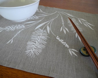 Screen Printed Linen Placemats Hand Printed Table Mats White & Natural Bottlebrush (set of 4)