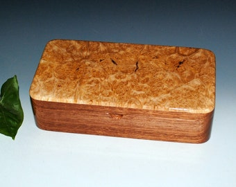 Wooden Box With a Tray - Maple Burl on Mahogany - Handmade by BurlWoodBox - Wood Jewelry, Keepsake or Desk Box - Wooden Stash Box With Tray