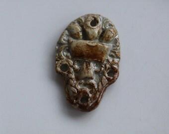Ceramic Pendant Handmade stoneware clay Tribal face art bead organic earthy artisan jewelry supplies potterygirl1