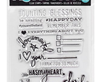 Heidi Swapp CHERISH Clear Stamps Project Life 14pc Scrapbook Cards Journal Pocket Pages