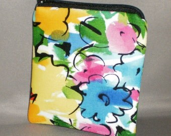 Coin Purse - Gift Card Holder - Card Case -Small Padded Zippered Pouch - Mini Wallet - Abstract Floral - Retro