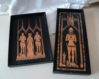 2 Vintage Medieval Design Framed Picture Knights & Lady