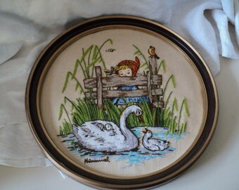 Large Vintage Hummel Embroidery. Mother Swan, by Paragon. Completed and Framed.