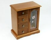 Wooden Jewelry Box Glass Door Necklace Carousel Ring Bar Vintage Storage Drawers