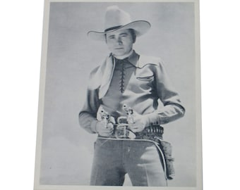 Black and White Fan Photo Tex Ritter American Country Singer Movie Star 1930s Cowboy
