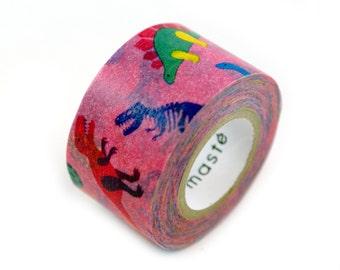 MASTE funky Dinos Japanese masking tape - dinosaurs on hot pink washi tape - Japanese washi tape