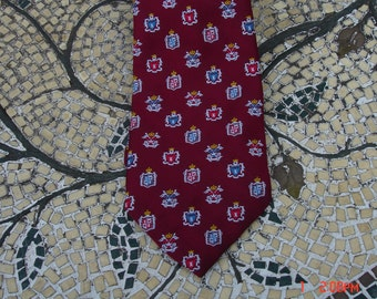 Vintage Michelle Polyester Necktie with Family Crests/Shields