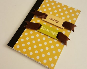 Yellow and White Polka Dot Altered Mini Composition Journal with Dark Brown Satin Ribbon - Many Blessings