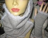 cashmere neckwarmer cowl hood scarf gray texting gloves fingerless