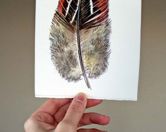 Original Feather painting - watercolor