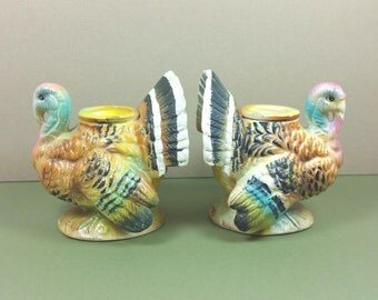 TURKEY CANDLE HOLDERS, Pair of Ceramic Napcoware, C-5988, Mid Century, Vintage Thanksgiving, Fall, Autumn, Holiday Decor