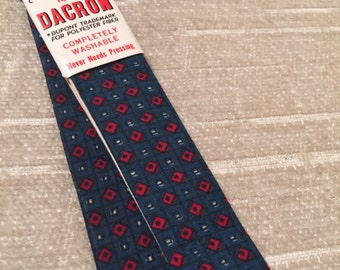 Red Squares on Blue Vintage SUPERBA Dacron Bow Tie NOS