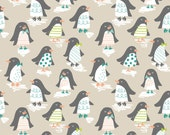 Snow Day - Penguin Parade in Taupe - 1 yard - Blend Fabrics